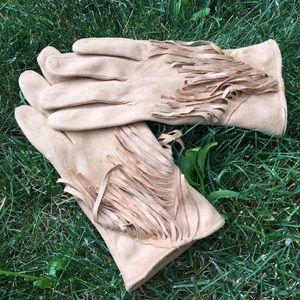 Suede Fringe Gloves
